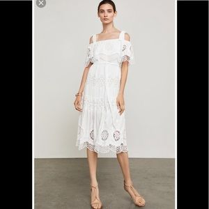 BCBGMaxAzria Midi Dress,Cold Shoulder Eyelet NWT